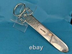 1900 Victorian large & ornate silver letter opener & magnifying glass