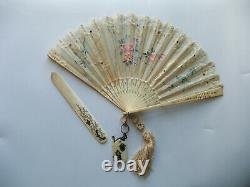 Antique 19th Hand Painted Lace Fan, with Carnet de Bal, Letter Opener