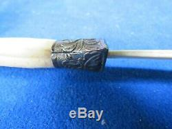 Antique Asain Carved Dragon Page Turner Bone And Metal Meiji, Xing
