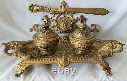 Antique Brass Inkwell Double Original Porcelain Pots And Letter Opener
