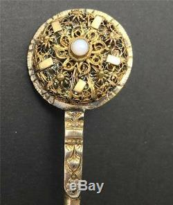Antique Brass Letter Opener Jeweled with Center Pearl Late 19th Century