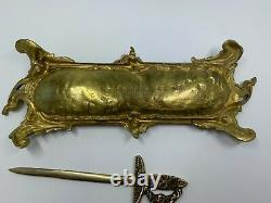 Antique Brass P E Guerin Desk tray and letter opener tray marked N. Y. 668