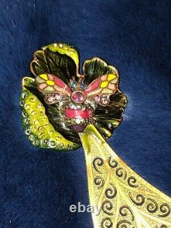 Antique Butterfly Jeweled Enameled Letter Opener By Jay Strongwater 7long P/O
