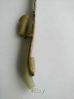 Antique Chinese Jade Letter Opener Carved Dragone
