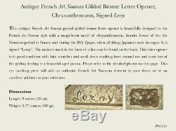 Antique French Art Nouveau Gilded Bronze Letter Opener, Chrysanthemums, Signed