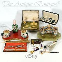 Antique French Calligraphy Writing Set, Dip Pen Wax Seal & Letter Opener