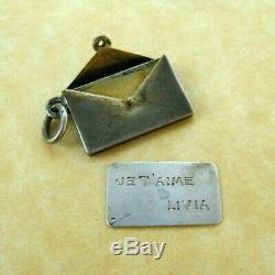 Antique French Silver Love Letter Opening Envelope Charm Je t'aime