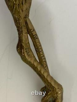 Antique J Moigniez French Animalier Gilt Bronze Feather Talon Claw Letter Opener