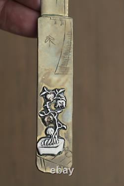 Antique Japanese 19thC Meiji Period Page Turner Letter Opener Mixed Metal Buddha