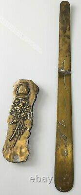 Antique Japanese Bronze Mixed Metal Page Turner or Letter Opener