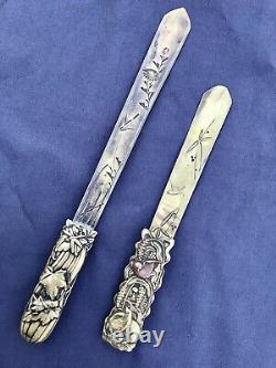 Antique Meiji Period Brass Cricket dragonfly Japanese Letter Opener Page Turner