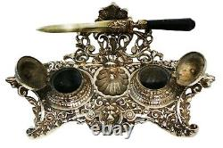 Antique Ornate Bronze Double Inkstand Victorian And Letter Opener Decade 1800´s