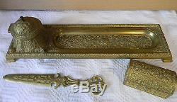 Antique Ornate Heavy Brass Desk Set Tray with Inkwell Stamp Box Letter Opener Ex