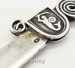 Antique POLISH SOLID SILVER WARSAW MERMAID LETTER OPENER c1930
