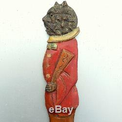 Antique Swiss PAINTED WOOD Black Forest NOVELTY Page Turner Cat GLASS EYE 18