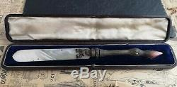 Antique Victorian letter opener, mother of pearl, agate stag design, cased
