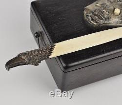 Antique Wood Box, servant call button, silver letter opener, dog figure