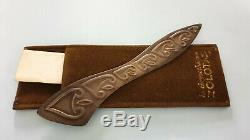 Antique Zolotas Silver Letter Opener Paper Cutter Leather Case Certificate