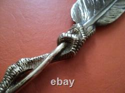 Antique french moigniez design gilded bronze letter opener bird feather claw