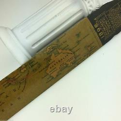 Antique wood page turner / letter opener 1898 with map The Eastern Telegraph Com