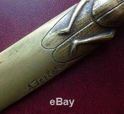 Art Nouveau French Bronze LETTER OPENER Paper Knife LUCANE or KITE by FERLET