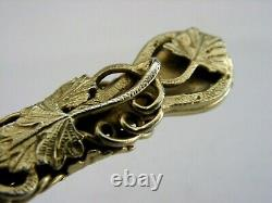 BEAUTIFUL ENGLISH SOLID STERLING SILVER GRAPE VINE LETTER OPENER 1970 HEAVY 56g