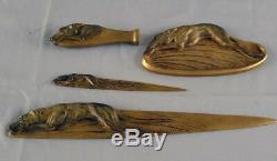 Boxed bronze greyhound desk set of seal, pintray and two letter openers signed B