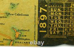 C1897 EASTERN TELEGRAPH Co ANTIQUE 19thC VICTORIAN LACQUER WORLD MAP PAGE TURNER