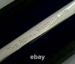 CASED ENGLISH SOLID SILVER LETTER OPENER ROYALTY PRINCE CHARLES FEATHERS 74g
