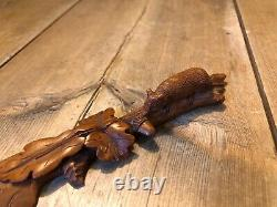 Carved Oak Letter Opener, Highly Detailed, With A Mouse Or A Shrew