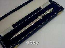 Cased English Roman Soldier Solid Sterling Silver Letter Opener 1976 Superb