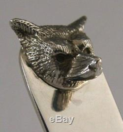 Cased English Solid Silver Fox Letter Opener 1980 Hunting Horse Riding Shooting