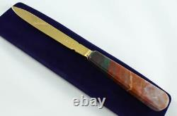 Chawner & Co Gold Plated Solid Silver Bladed Agate Handled Letter Opener 1873