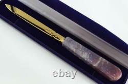 Chawner London Gold Plated Solid Silver Bladed Agate Handled Letter Opener 1873