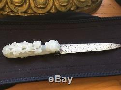 Chinese 18thc White Jade Belt Buckle Silver Mounded Letter Opener
