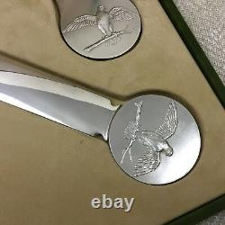 Christofle Desk Set Silver Plated Falcon Falconry Letter Opener Bottle Coin Tray