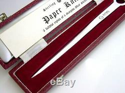 English Cased Sterling Silver Replica Georgian Meat Skewer Letter Opener 1971