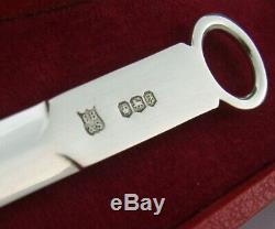 English Cased Sterling Silver Replica Georgian Meat Skewer Letter Opener 1973