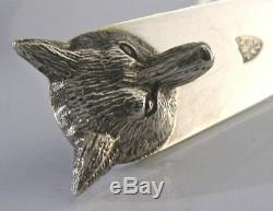 English Solid Silver Fox Head Letter Opener 1989 Hunting Shooting Riding