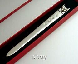 English Solid Sterling Silver Fox Letter Opener 1979 Hunting Horse Riding