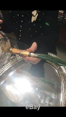 Extremely Rare Russian Faberge Silver Enamel Poodle Head Letter Opener