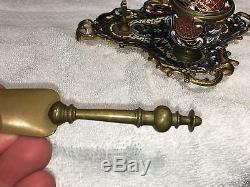French Art Nouveau Champleve Enamel Bronze Inkwell & Letter Opener
