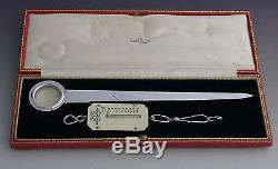 Gents Silver Plate Letter Opener Scales Magnifying Glass Desk Set 1925-1930