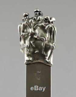 Jean Filhos Christofle silvered bronze erotic letter opener with nudes 1974