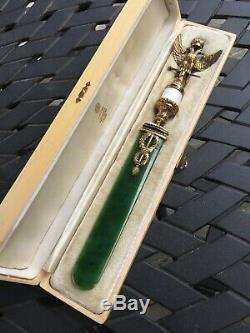 Magnificent Faberge Russian Silver Enamel Nephrite Jade Letter Opener -diamonds
