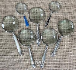 Magnifying Glass & Letter Opener Set With Antique Silver Plated Handles