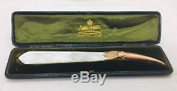 Mappin & Webb Antique 9k 375 Gold & Mother Of Pearl Letter Opener & Original Box