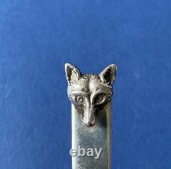 Novelty Solid Silver'Fox Head' Letter Opener/Bookmark 1958 S J Rose & Son