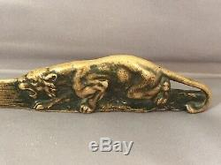 Quality Austria Antique Brass Bronze Figural Crouching Tiger Letter Opener C1900