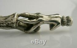 RARE SOLID STERLING SILVER CAST FIGURAL HANDLED LETTER OPENER 1993 ENGLISH 71g